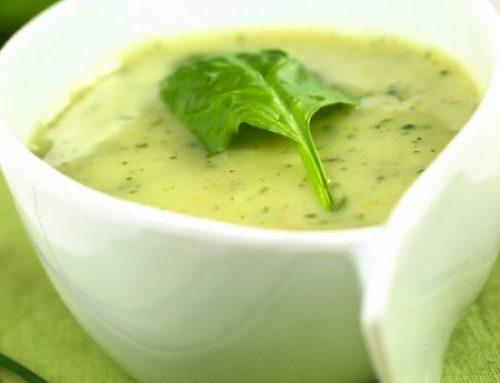 Sopa fría de espinacas, rúcula y canónigos